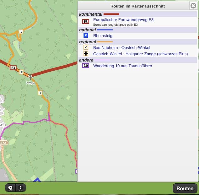 Infos zu Wanderwegen im Kartenausschnitt