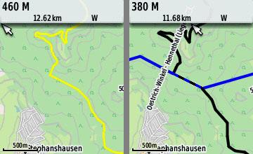 Einzelnder Wanderweg als Track (links) oder alle Wanderwege als Layer (rechts)